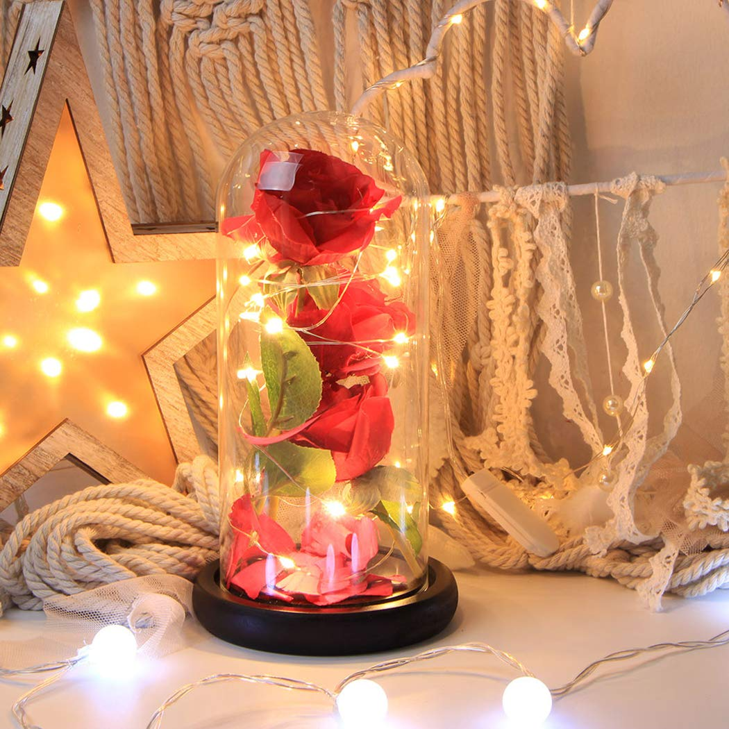 Beauty and The Beast,FunPa 3PC Forever Flower and Warm White LED Light with Fallen Petals in Glass Dome on a Wooden Base Best Gift for Valentine\'s Day Birthday Anniversary Valentine\'s Day