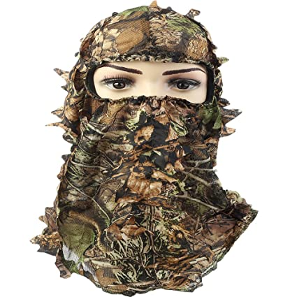 608bf709602 Amazon.com   YB Camoflage Hunting Leafy 3D Face Mask Hood   Sports ...