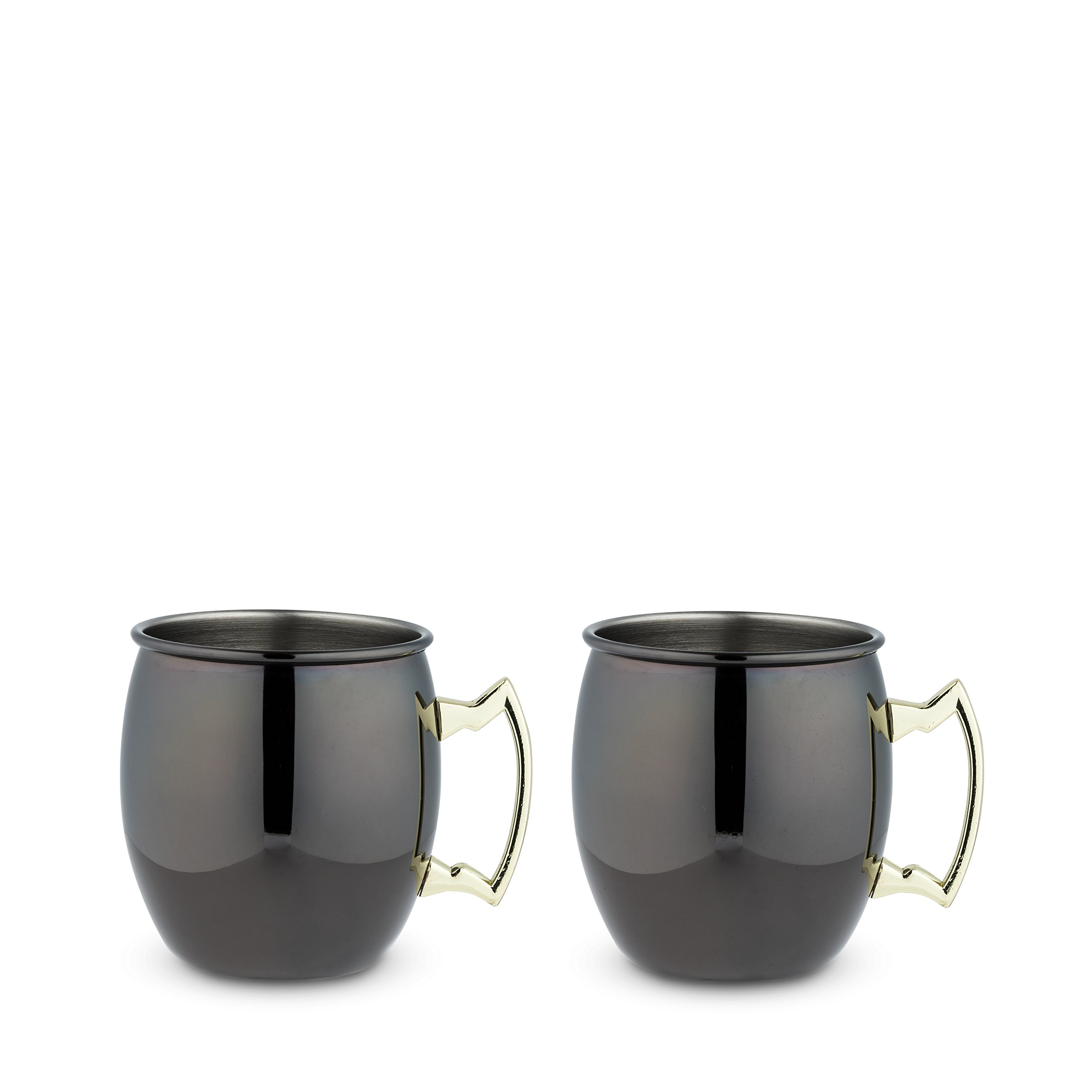 True 7385 Black Mug with Gold Handle, 2 Pack, Moscow Mule