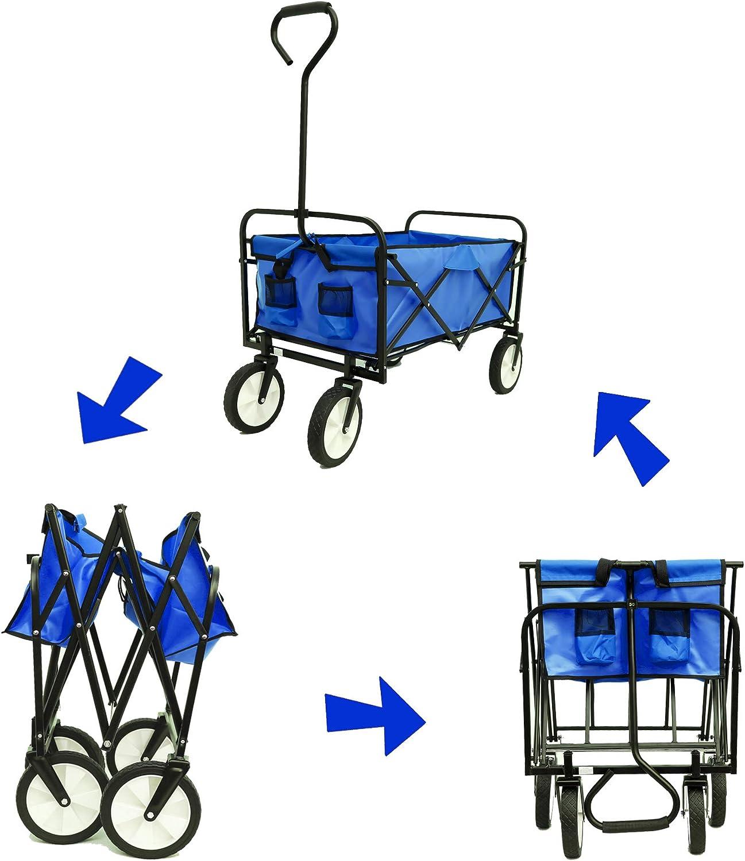 Folding Wagon, Garden Cart Heavy Duty Collapsible Folding All Terrain Utility Beach Garden Shopping, Utility Cart Collapsible Blue