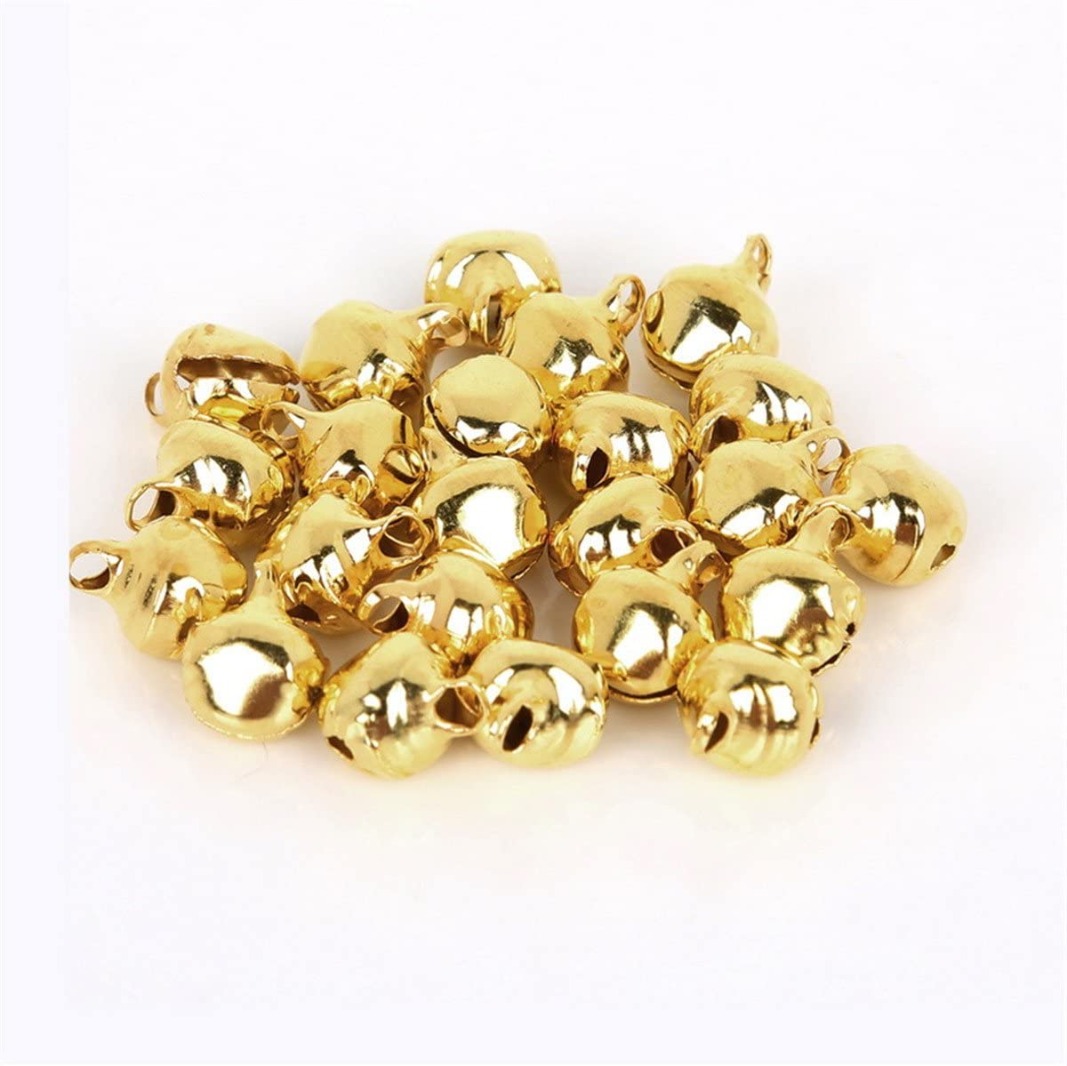500 pcs Pack 6mm New Christmas Bells Assorted Color Loose Beads Small Jingle Bells Christmas Decoration Gift Pendant Charms Dog Cat Collar Craft Bells Bag Parts B : 6mm 500pcs