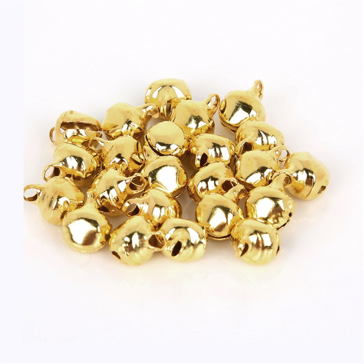 Christmas Garland Bells,Gold 200Pcs Jingle Bells 8mm,Mix Jingle Christmas Bells Loose Beads Charms Jewelry Marking Christmas Decorations Balls Tree Bells