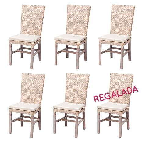 Rotin Design Rebajas : -36% Lote 6 sillas de Ratan Ellen Blancas sillas para