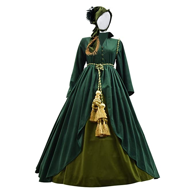 Old Fashioned Dresses | Old Dress Styles Expeke Scarlet Costume Gone Wind Dresses with Scarf for Women Green Curtain Dress  AT vintagedancer.com