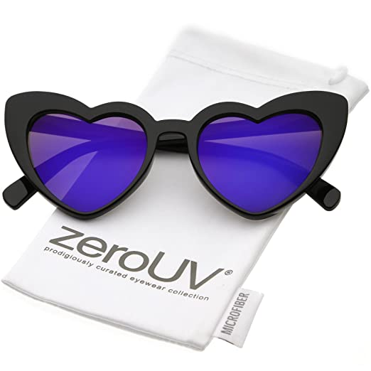 c9a84ba9c0 Amazon.com  zeroUV - Women s Oversize Chunky Colored Mirror Lens Heart  Sunglasses 51mm (Black Purple Mirror)  Clothing