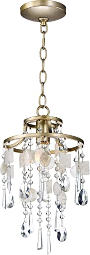 Maxim 14422CZGS Cebu Crystal and Shell Mini Pendant Ceiling Light for Bedroom and Small Dining Room, 1-Light 60 Watt, 16 H x 9 W, Capiz Gold Silver