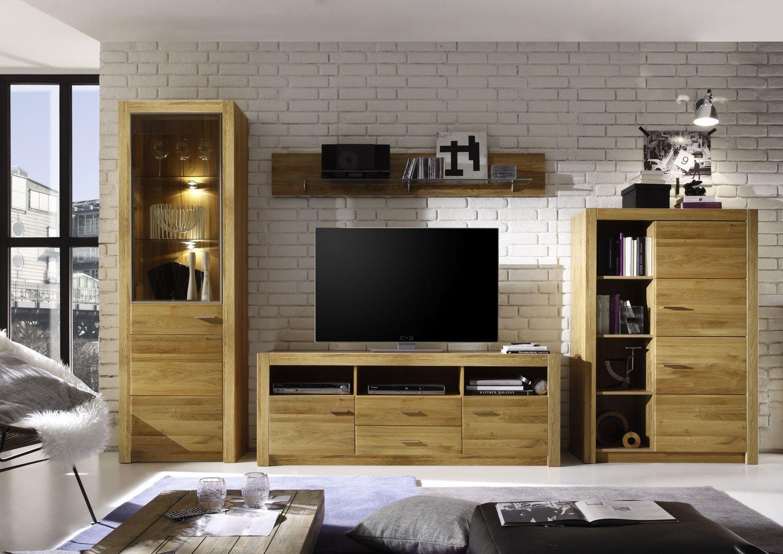 Easyfurn Tv Meubel.Malpensa Easyfurn Wall Unit In Solid Knotted Oak Part Amazon Co