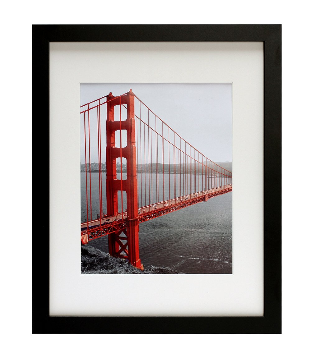 Frametory, 11x14 Black Picture Frames - Made to Display Pictures 8x10 with Mat or 11x14 Without Mat - Wide Molding - Pre-Installed Wall Mounting Hardware by Frametory