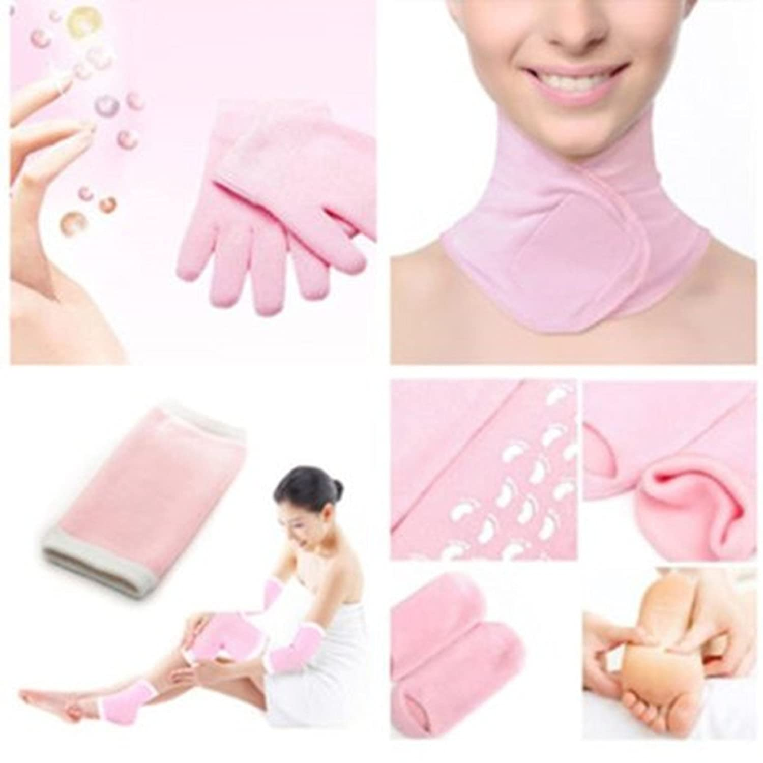 Healtheveryday® Moisturizing Beauty Spa Hydrating Self-Activating Gel Pink Color Women Dry Skin Care Gel Therapy Treatment Soften Whitening Gel Wrap Gloves+Socks+Elbow+Neck 4 in one Set, Hard & Dry Cracked Skin Moisturising Pain Recovery Home SPA