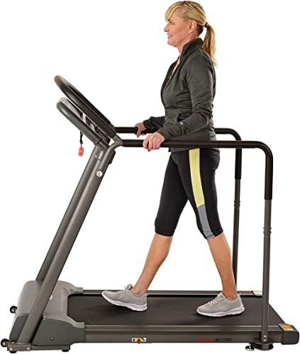 Sunny Health Fitness Walking Treadmill with Low Wide Deck and Multi-Grip Handrails for Balance, 295 LB Max Weight – SF-T7857