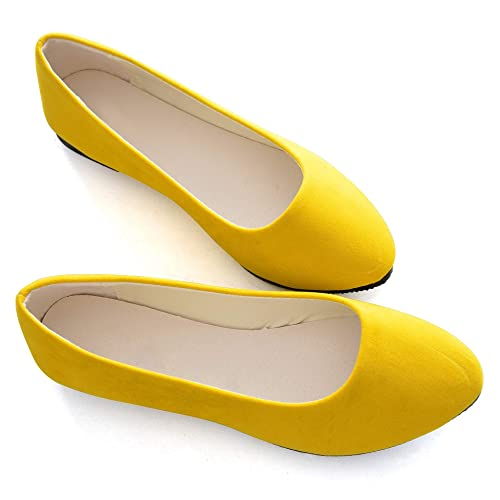 6d718f4c25e7 Stunner Women Cute Slip-On Ballet Shoes Soft Solid Classic Pointed Toe Flats