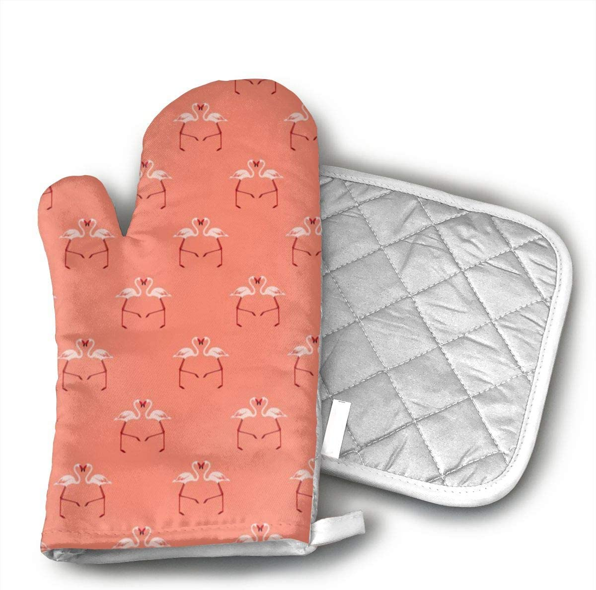 JFNNRUOP Pink Flamingoes On Coral Oven Mitts,with Potholders Oven Gloves,Insulated Quilted Cotton Potholders