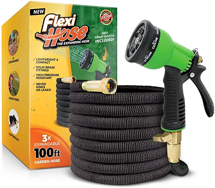 Flexi Hose with 8 Function Nozzle, 100 ft. Lightweight Expandable Garden Hose, No-Kink Flexibility, 3/4 Inch Solid Brass Fittings and Double Latex Core, Black