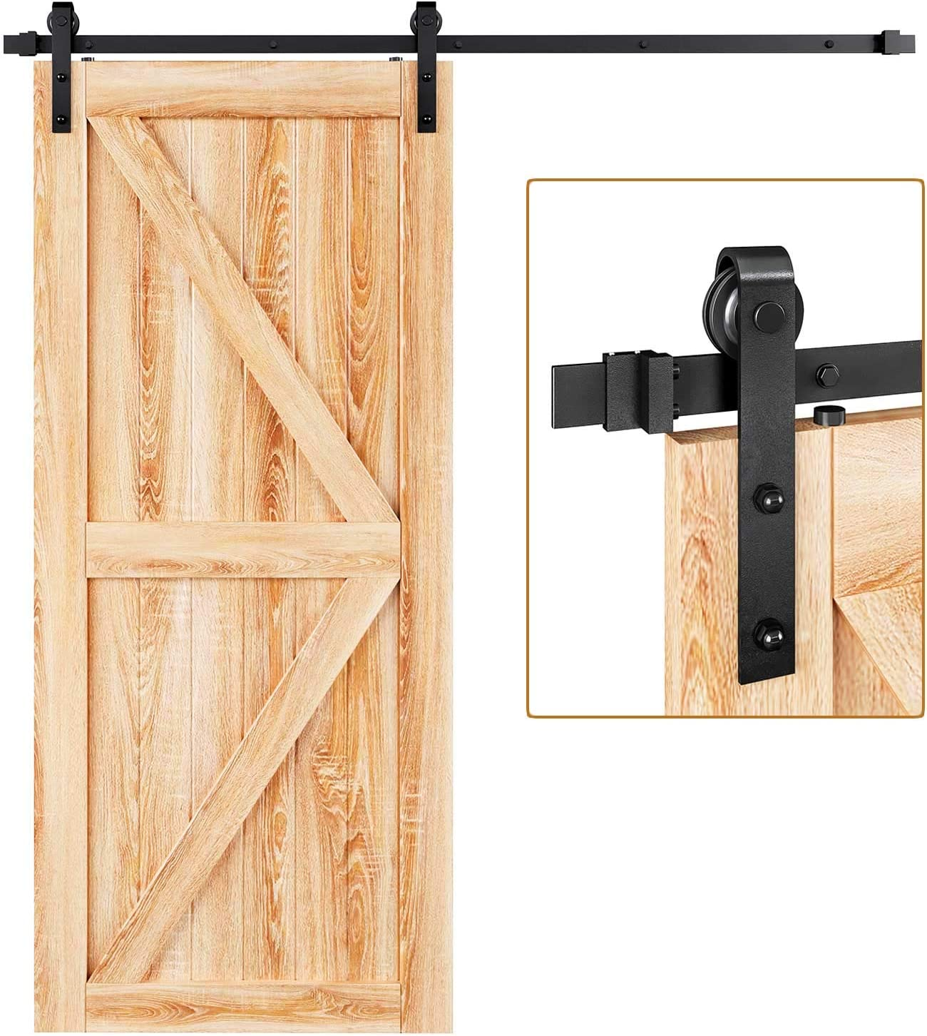 "EaseLife 6.6 FT Heavy Duty Sliding Barn Door Hardware Track Kit,Ultra Sturdy,Slide Smoothly Quietly,One Piece 6.6FT Track,Easy Install,Fit 36""~40"" Wide Door (6.6FT Track Single Door Kit)"