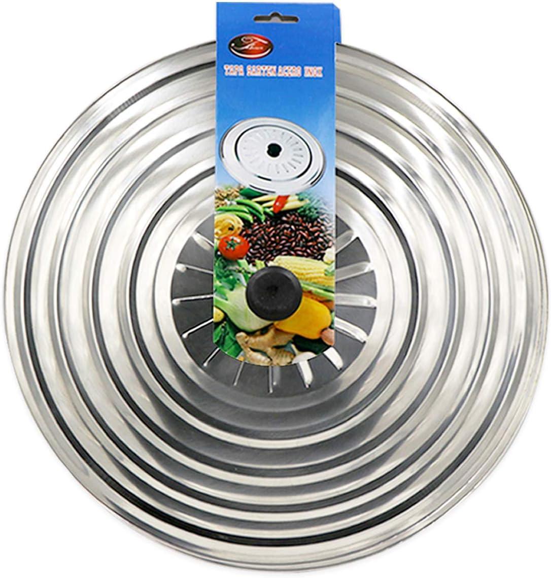 Tapa multiuso para ollas y sartenes, de acero inoxidable. 40 cm. Circulos para el vapor.