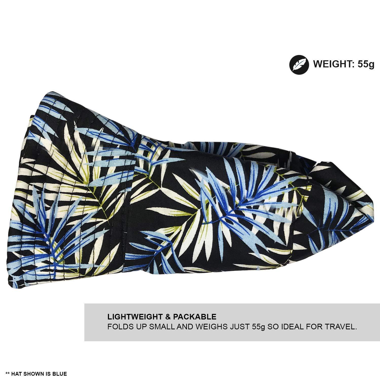 Fischerhutdesign geeignet f/ür Damen und Herren Baumwolle TOSKATOK/® UPF 50+ Unisex Sonnenhut tropisches Palmenbl/ättermuster