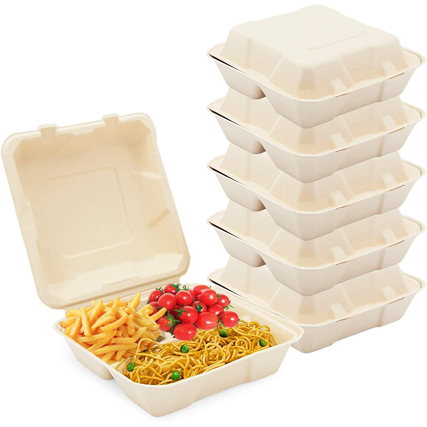 """[30 Pack]8x8x3"""" Clamshell Food Containers with 3 Compartment - Compostable Take Out Box, 100% Biodegradable Sugarcane, Styrofoam and Plastic Alternative, Microwave Safe, to Go Lunch and Meals"""