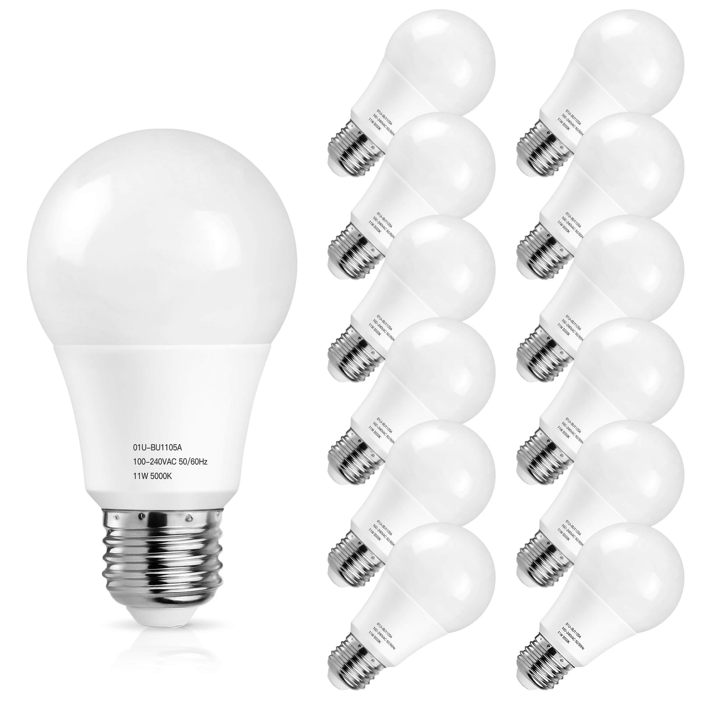 A19 LED Light Bulbs 5000K, 100 Watt Equivalent LED Bulb Daylight White, 1100Lumens, Non Dimmable, Medium Screw Base (E26), CRI80+, 12-Pack by MAXvolador (Image #1)