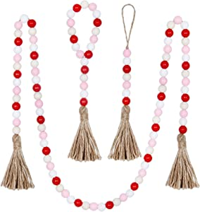 BlueMake 3 Pack Valentine's Day Wood Bead Garland with Tassel,Rustic Wooden Bead Decor Farmhouse Beads Big Wall Hanging Decor (Pink)