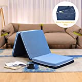 Smile Back Tri-Folding Memory Foam Mattress Topper, Blue, Single Size, Folding Mattress, Play Mat, Foldable Guest Bed…