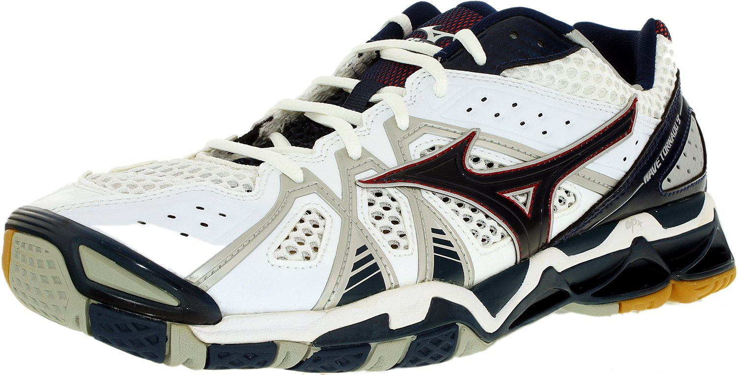 Mizuno Men's Wave Tornado 9 WH-NY Volleyball Shoe, White/Navy, 13 D US