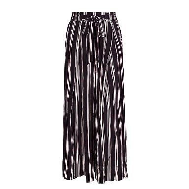 ef2207fcaa High Split Stripe Wide Leg Pants Women Summer Beach high Waist Trousers  Chic sash Pants Capris