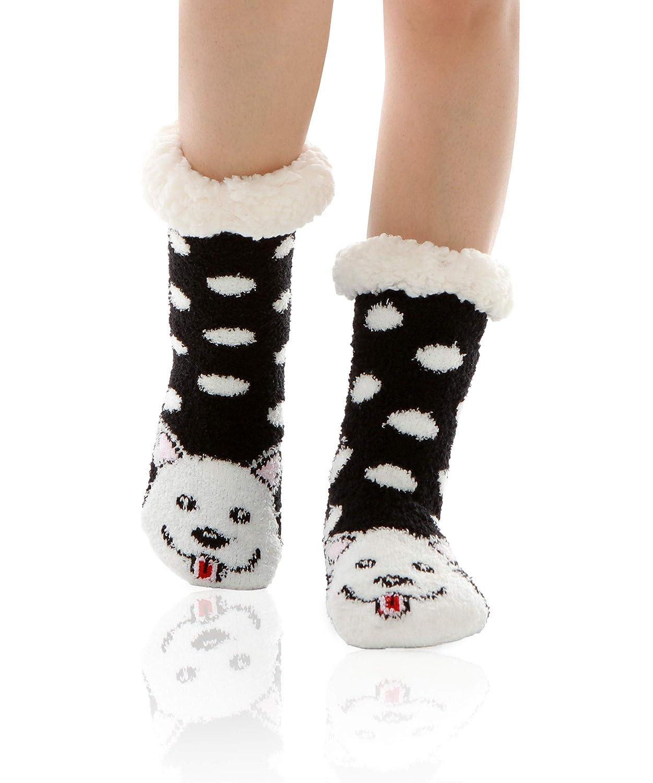 WOTENCE Damen Soft Warm Fuzzy Gefü ttert Niedlichen Tier Winter Hause Slipper Socken Rutschfeste Weihnachtsgeschenk Slipper Socken