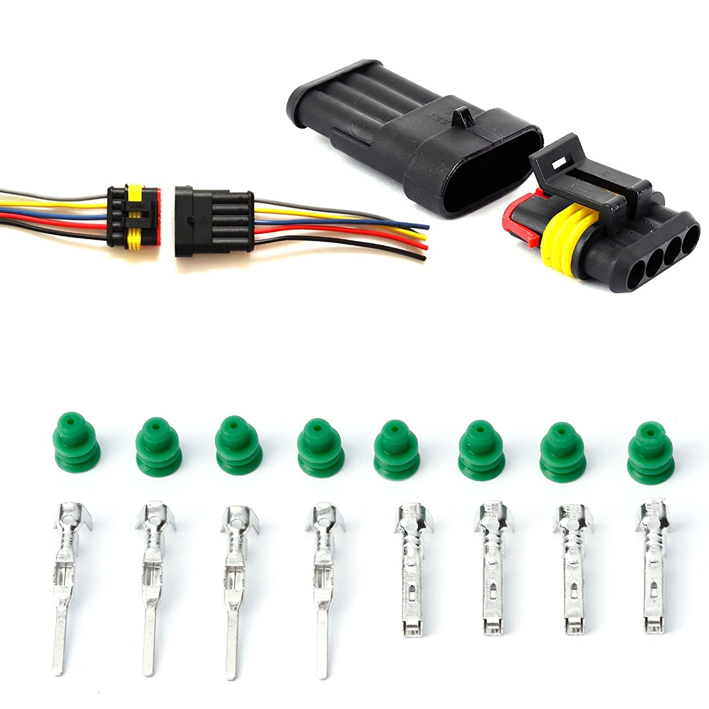 10/pcs 4/pin Way Superseal /étanche /électrique terminal connecteur de fils prise pour auto moto scooter Auto Truck Marine pour fil pour 0,3 0,5/mm/²