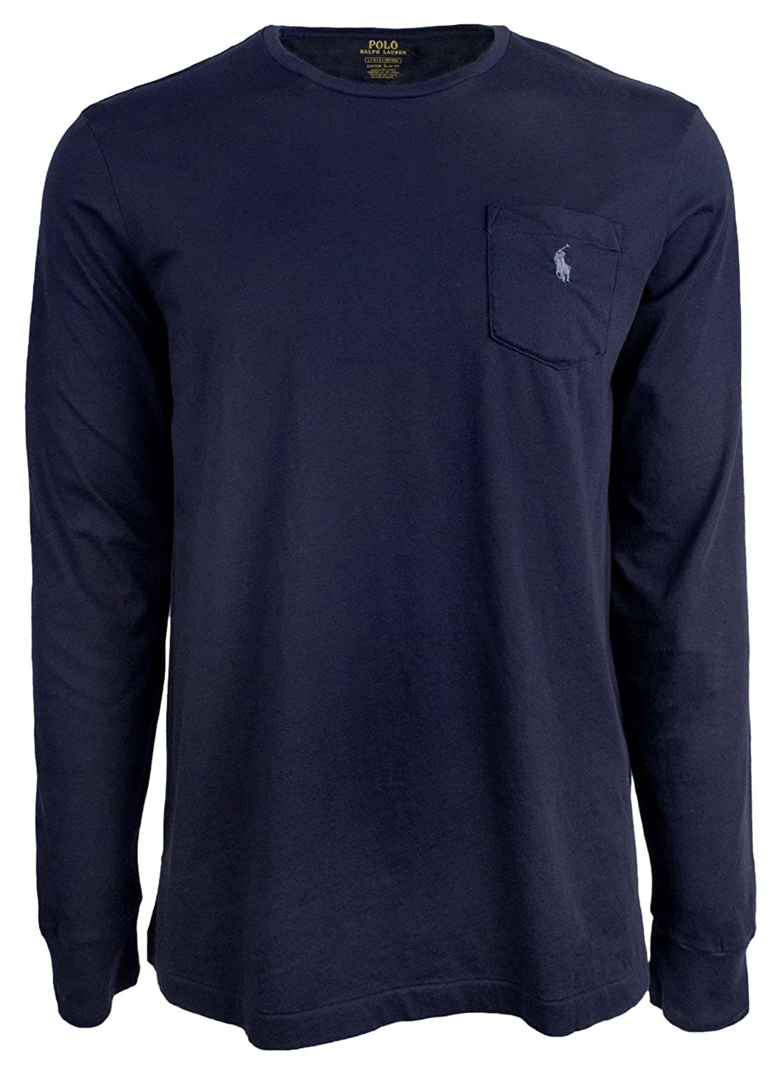 0d70a5e3 RALPH LAUREN Polo Men Long Sleeve Pony Logo T-Shirt with Pocket (Navy, L)  at Amazon Men's Clothing store: