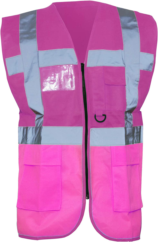 Yoko Hi-Vis Premium Executive//Manager Waistcoat//Jacket 2XL Pink Pack of 2
