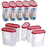 Primeway Food Savers Modular Plastic Container Set, 275ml, Set of 10, Red
