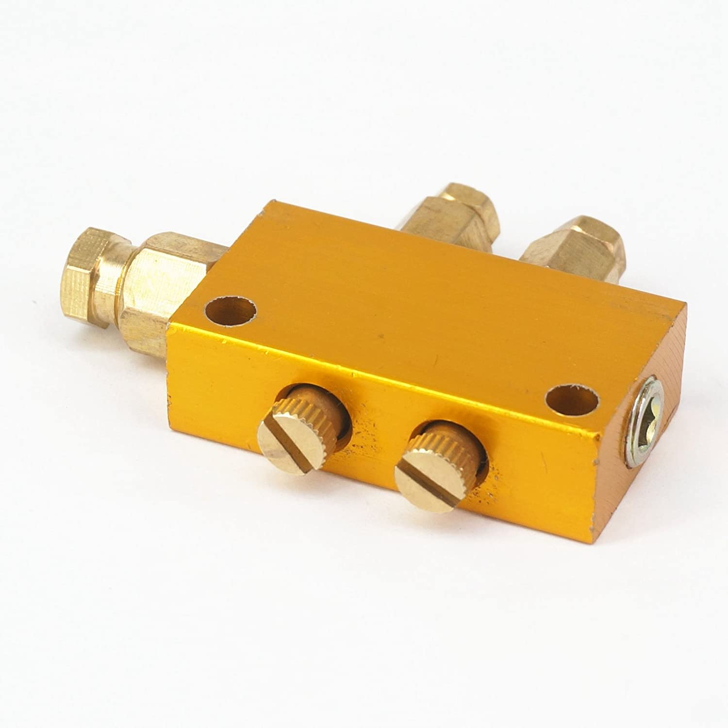 Sorekarain Brass 2 Way Adjustable Lube Oil Piston Distributor Value Manifold Block 6Mm Inlet 4Mm Out for Centralized Lubrication System
