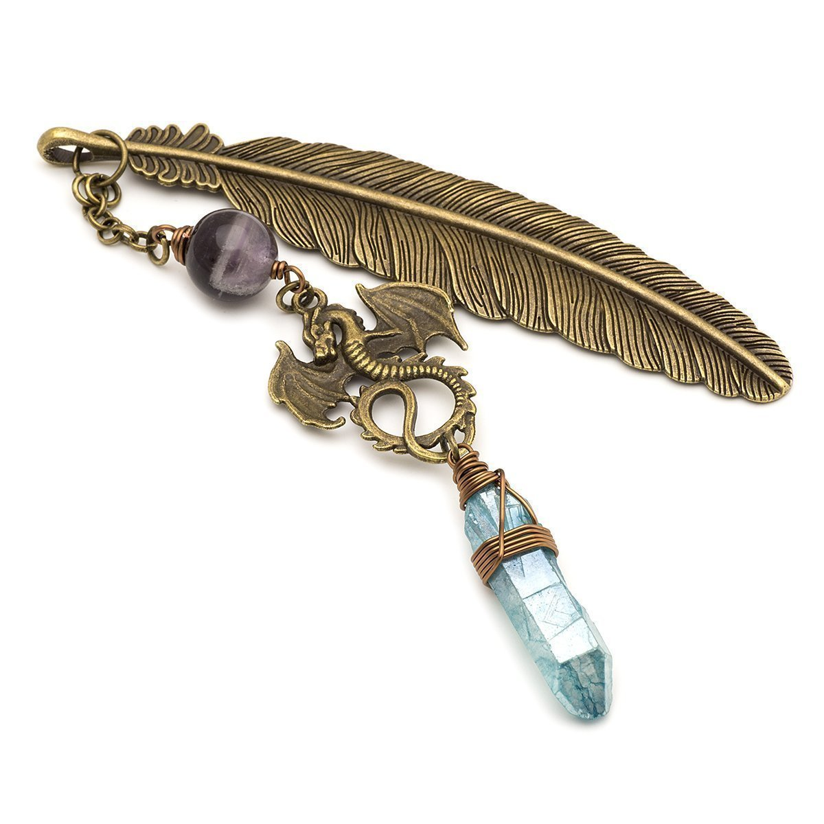 Aura quartz amethyst gemstone point dragon and feather bronze metal unique bookmark gift
