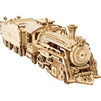ROKR DIY Train Model Wooden Vehicle Model Kits 3D Puzzle Toy Boy Girl