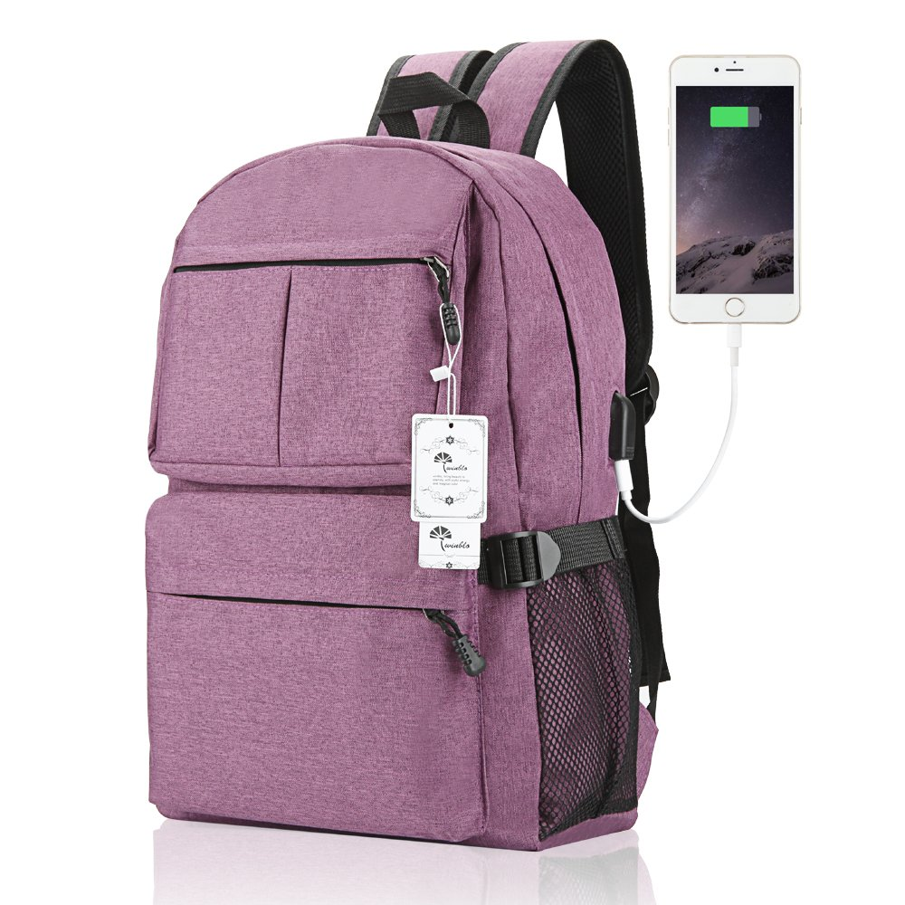 Laptop Backpack, WInblo 15 15.6 Inch College Backpack with USB Charging Port Light Weight Travel Backpack for Men Women(E-Purple)