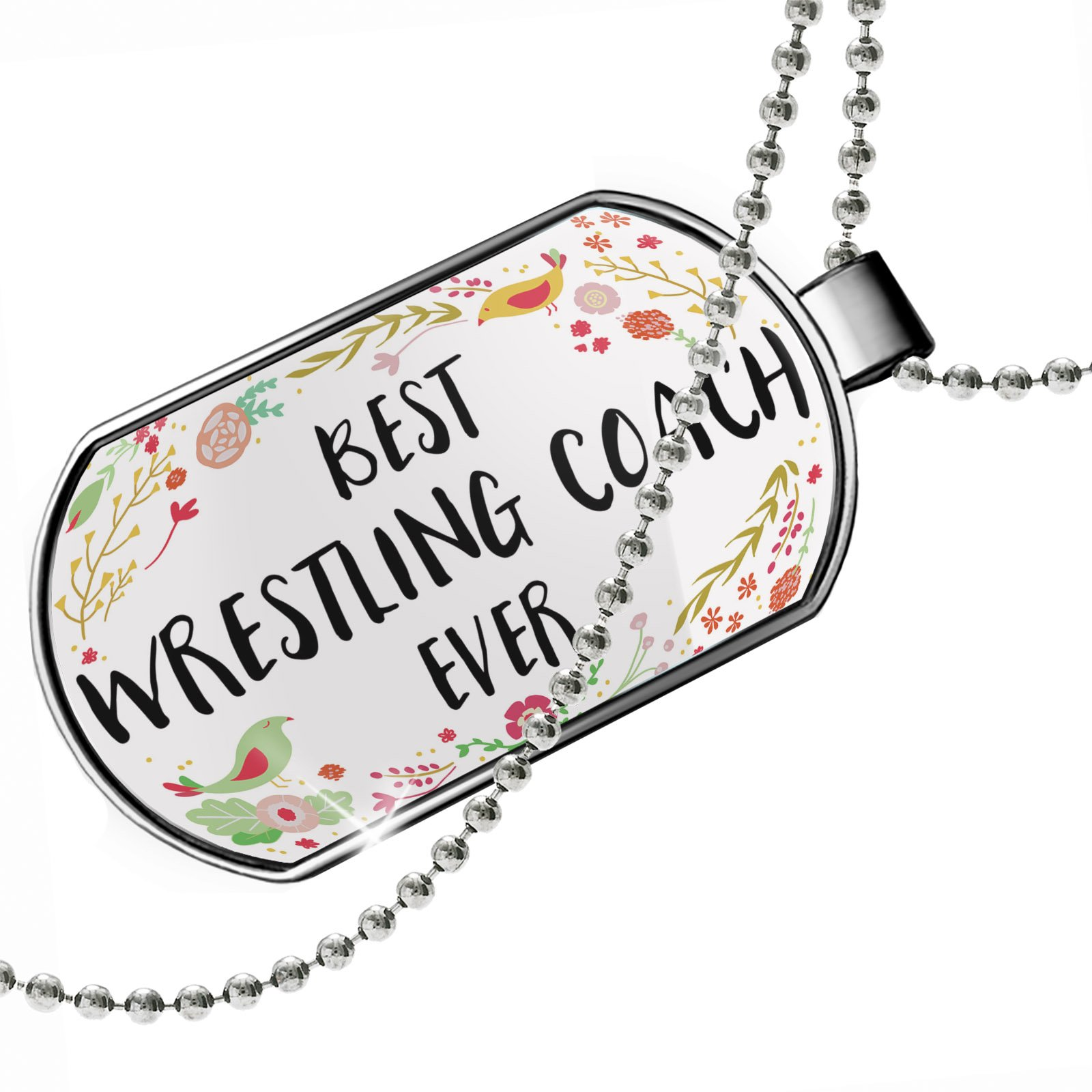 Dogtag Happy Floral Border Wrestling Coach Dog tags necklace - Neonblond by NEONBLOND