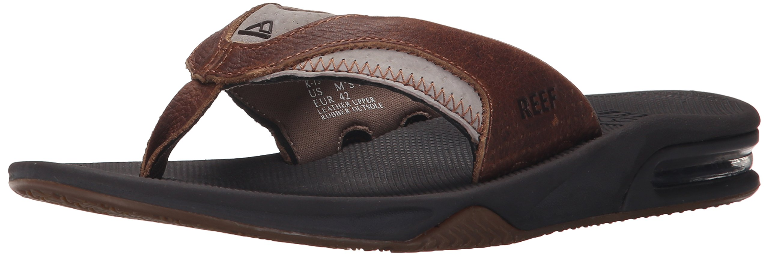 Reef Men's Leather Fanning Sandal, Brown/Brown, 11 M US