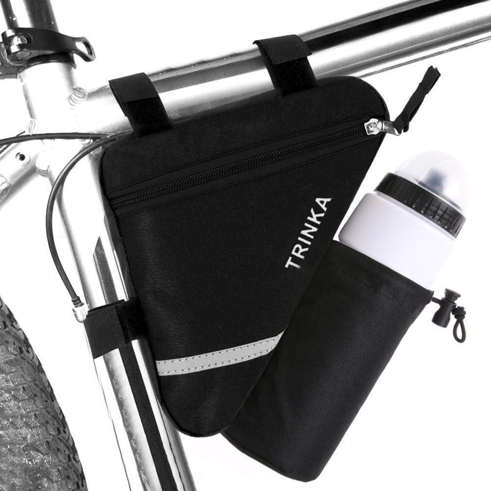 Bicicleta triangular para bicicleta con marco de tubo delantero, bolsa de sillín con rayas reflectantes, bolsa frontal para bicicleta con bolsillo para botella de agua
