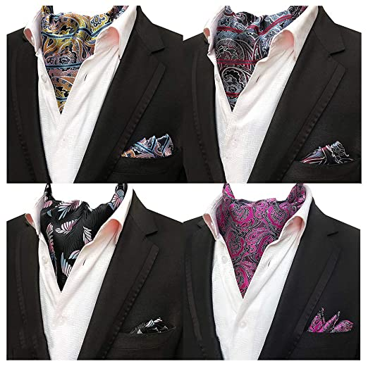 bd4f3c63ab5c Men 4-Pack Wedding Striped Paisley Cravat Ascot Scarf Neckties Pocket  Square Set