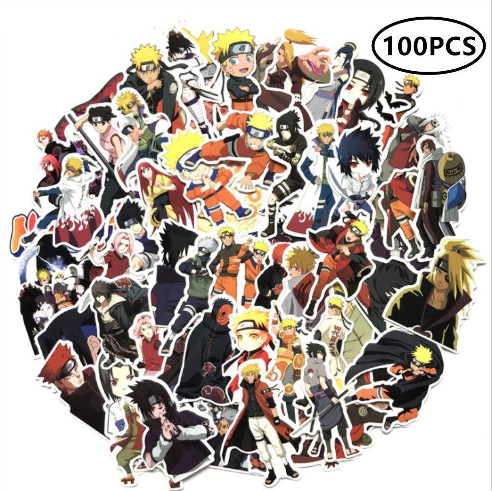 ZIYAN 100Pcs Naruto Laptop Stickers Anime Waterproof Stickers for Skateboard, Luggage,Helmet,Guitar