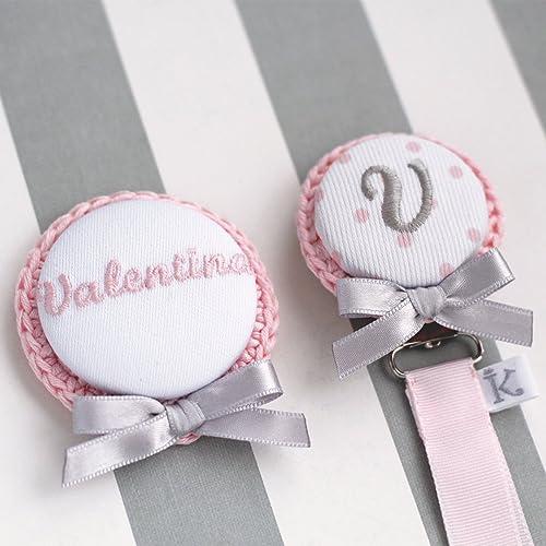 """""""Valentina en rosa o celeste"""" Broche para capazo + Chupetero personalizado bordado con"""