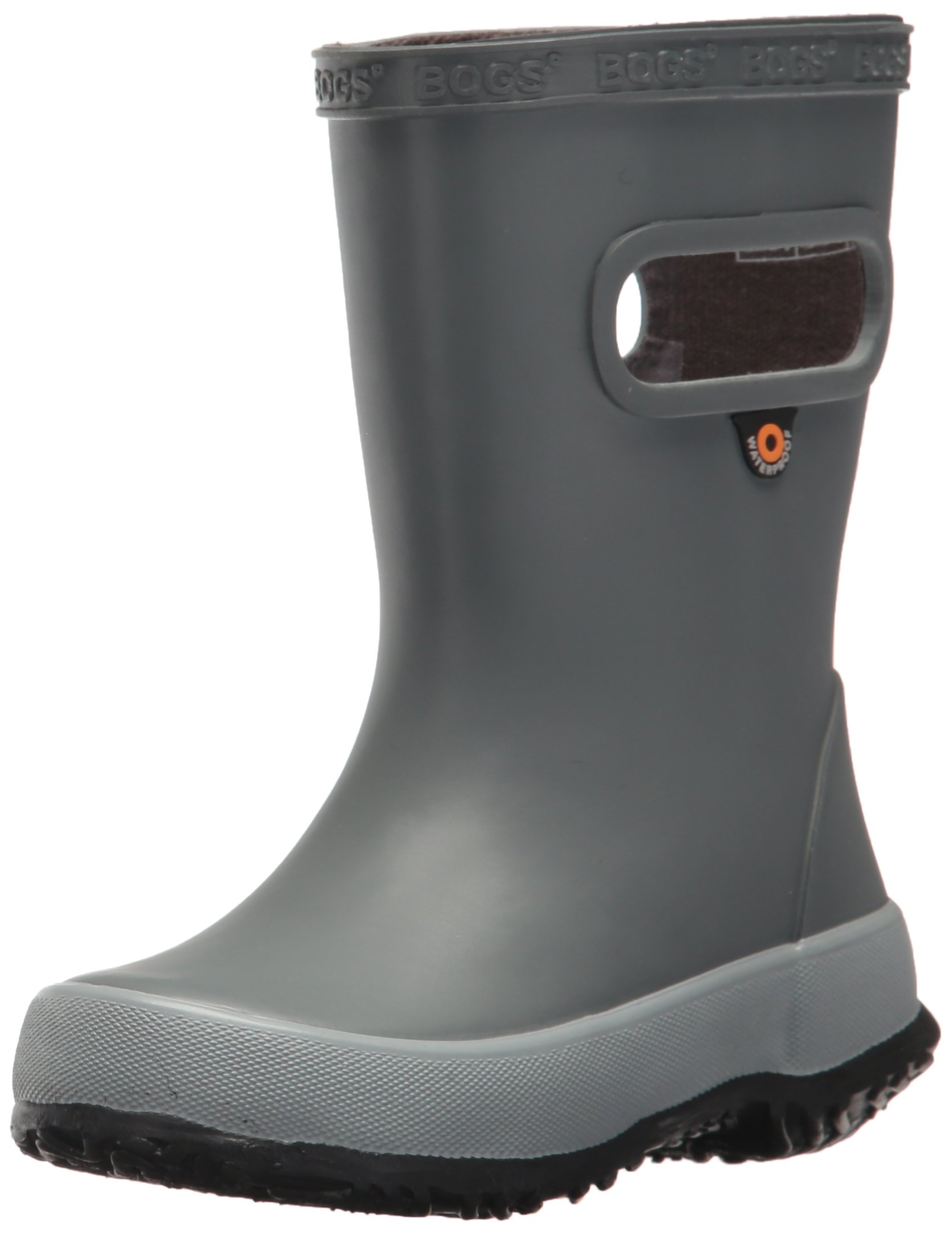 Bogs Kids' Skipper Waterproof Rubber Rain Boot for Boys and Girls,Solid Gray,10 M US Toddler