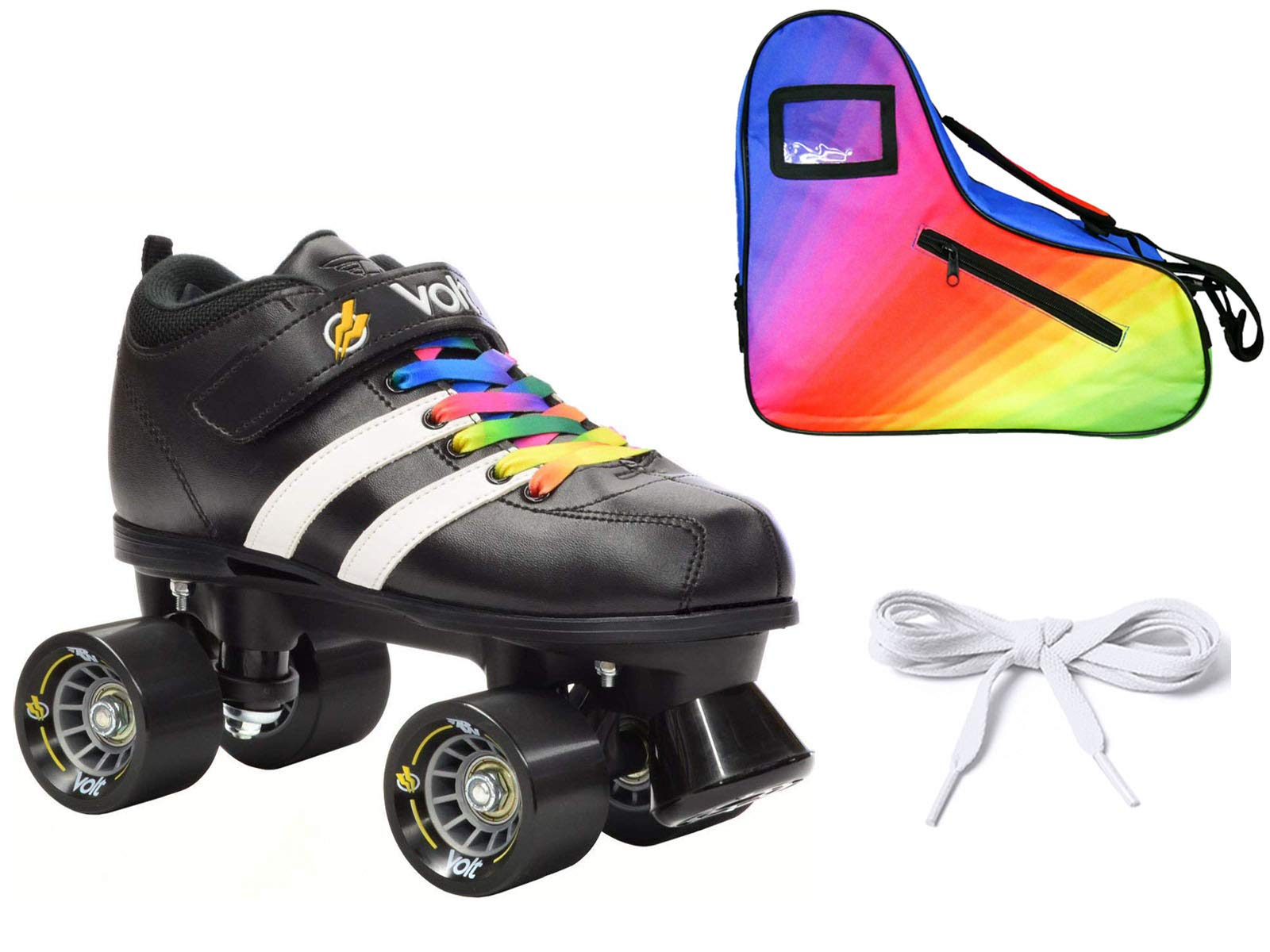 Riedell Volt Quad Derby Speed Roller Skate 3 Pc Rainbow Bundle with Bag! (Youth 1)