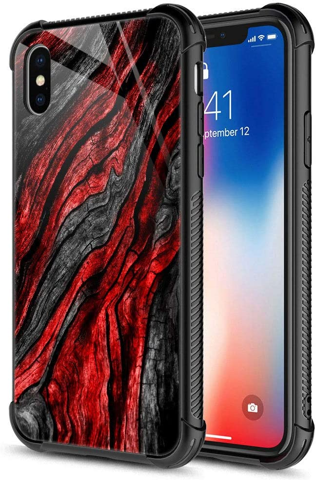 CARLOCA iPhone Xs Max Case,9H Tempered Glass iPhone Xs Max Cases for Men Boys, Black Red Wood Grain Pattern Design Shockproof Anti-Scratch Case for Apple iPhone Xs MAX 6.5-inch Wood Grain