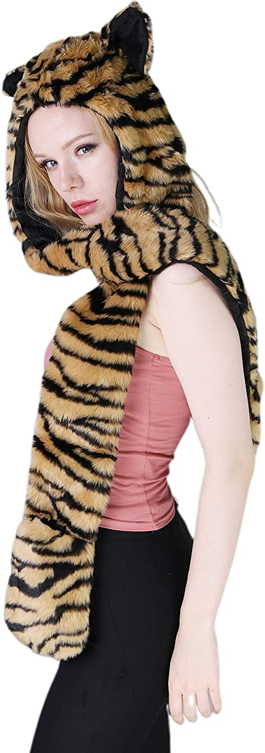 Animal Hat 3-in-1 Faux Fur Head Cover Warm Fuzzy Hooded Scarf with Pocket Mittens