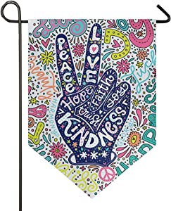 ALAZA Floral Peace Sign Gesture Garden Flag Welcome Home House Flags Double Sided Yard Banner Outdoor Decor 12 x 18 Inch, 1 Piece
