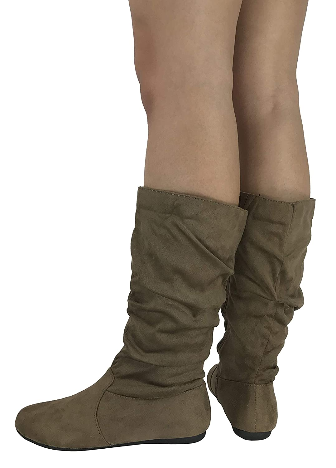 Wells Collection Womens /& Girls Slouchy Wonda Boots Soft Flat to Low Heel Under Knee High