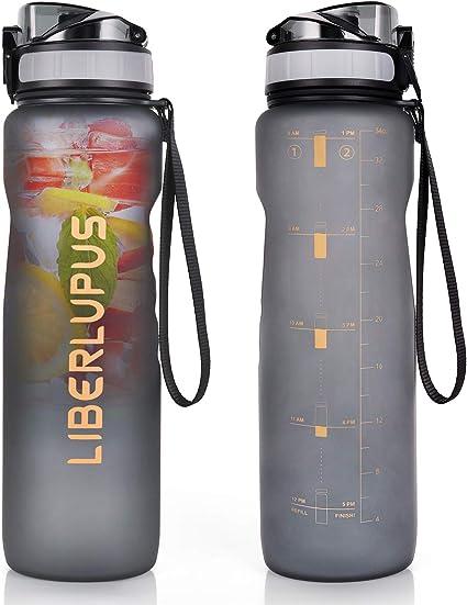 Running KollyKolla Sports Water Bottles 32oz,27oz,17oz,12oz,Reusable Plastic Water Bottle with Time Marker and Filter Yoga BPA Free Tritan Kids Flip Top Water Bottle for Gym Bike