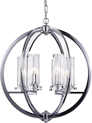 Edvivi 6-Light Chrome Finish Globe Chandelier