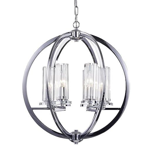 Amazon.com: 6 Luz acabado chapado en cromo Globe – Lámpara ...